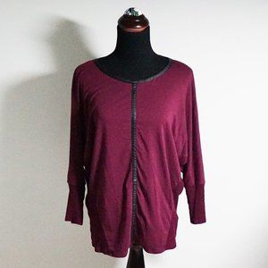 Vince Camuto Maroon Leather Accent Top